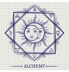 Sketch of sun moon and elements vector image