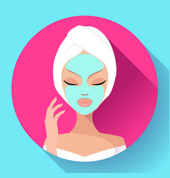 Spa woman applying facial cleansing mask beauty vector