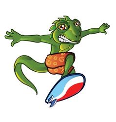Surfing Lizard vector image