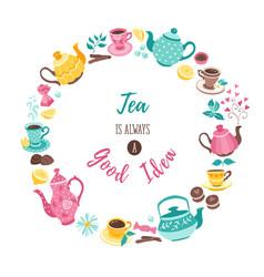Tea circle poster vector