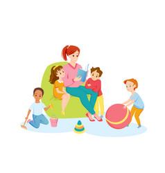 Teacher and preschool children read book together vector