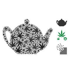 Teapot mosaic of marijuana vector