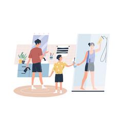teenage boy help parents washing bathroom vector image