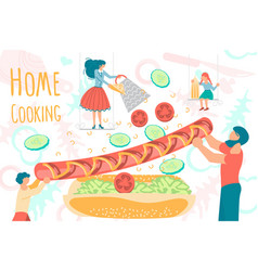 Tiny people cooking at home vector