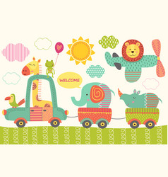 Train with baby jungle animals vector