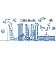 usa texas dallas winter city skyline merry vector image