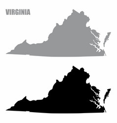 virginia state silhouette maps vector image