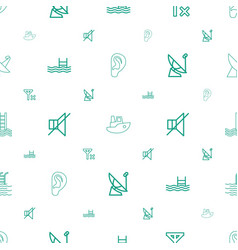 waves icons pattern seamless white background vector image