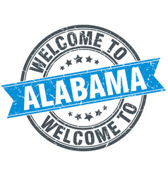 Welcome to alabama blue round vintage stamp vector