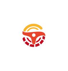 wheel logo orange logo car logo taxi vector image