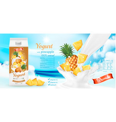 white yogurt with fresh pineapple in box vector image