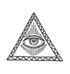 With an all-seeing eye masonic symbol vector