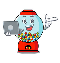 with laptop gumball machine character cartoon vector image