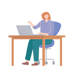 woman using laptop on desk working isolated design vector image