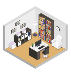 working cabinet isometric modern furniture room vector image