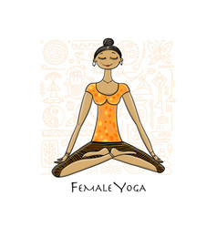 young girl in lotus position padmasana women vector image