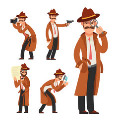 cartoon private detective police inspector vector image