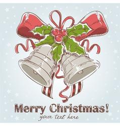 Christmas hand drawn retro postcard vector image