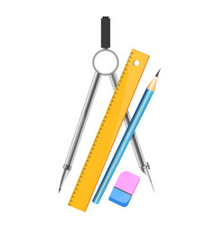 compasses for drawing ruler and pencil vector image