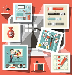 Computer with Business Icons vector image vector image