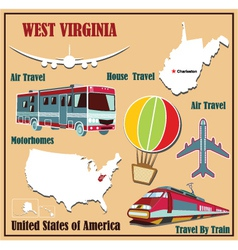 Flat map of West Virginia vector image vector image
