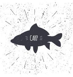 hand drawn common carp icon fish in black and vector image