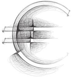 Sketch Euro Symbol vector image vector image
