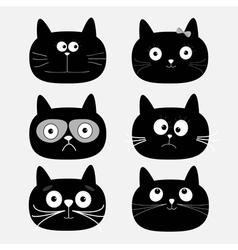Cute black cat head set Funny cartoon characters vector image vector image