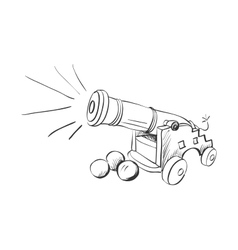 doodle cannon vector image vector image