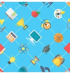 Flat School Icons Seamless Pattern vector image