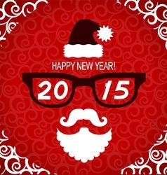New year hipster greeting card with Santa vector image