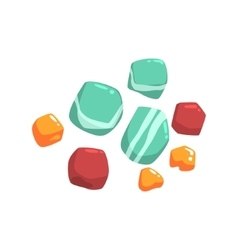 Set Of Semiprecious Blue Red And Orange Stones vector image