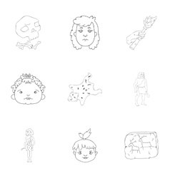 Stone age set icons in outline style Big vector image vector image