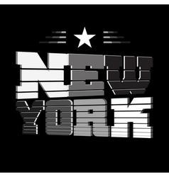 T shirt New York black white star vector image vector image