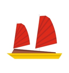 Vietnamese junk boat icon flat style vector image vector image