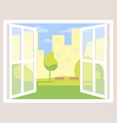 city view open window background vector image