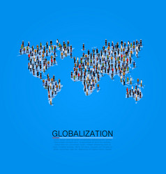group of people making a earth planet shape vector image vector image