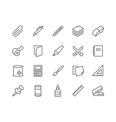 Line Stationery Icons vector image vector image