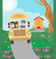 School bus with happy children vector