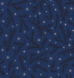 Seamless pattern fir brunch winter snowflake Dark vector image vector image