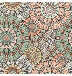 Seamless pattern with flowery mandalas vector
