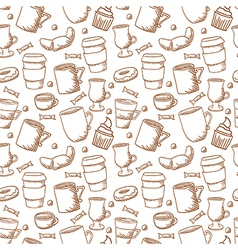seamless sketchy doodle style coffee cups and mugs vector image vector image
