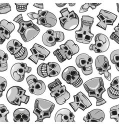 Skeleton skulls seamless pattern background vector image vector image