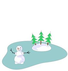 Snowman on frozen lake vector image