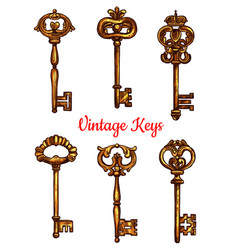 vintage brass keys isolated icons set vector image