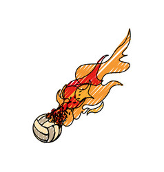 Voleyball ball in flammes vector