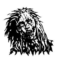 dreadful head of zombie girl vector image vector image