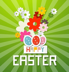 Happy Easter with Paper Cut Flowers and Eggs vector image vector image