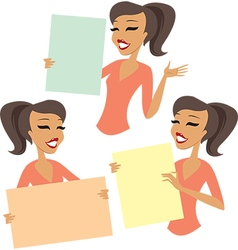 Woman holding blank cards vector image