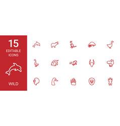 15 wild icons vector image